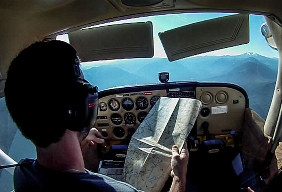 Practicing old-school navigation in a Cessna 172 over the Oregon Cascades