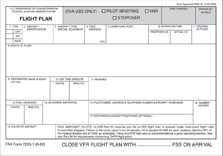 Figure 10-1. Flight Plan Form.