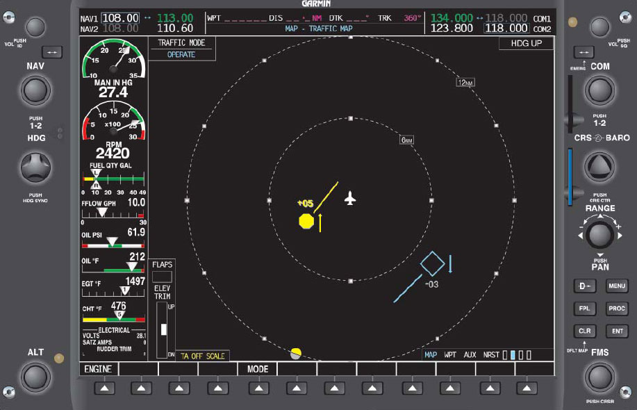 Figure 11-18. A Typical Display on Aircraft MFD When Using TIS.