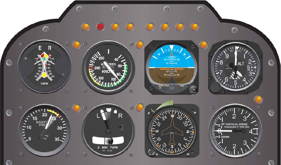 Figure 6-8. Flight instrument indications in straight-and-level flight with power decreasing.