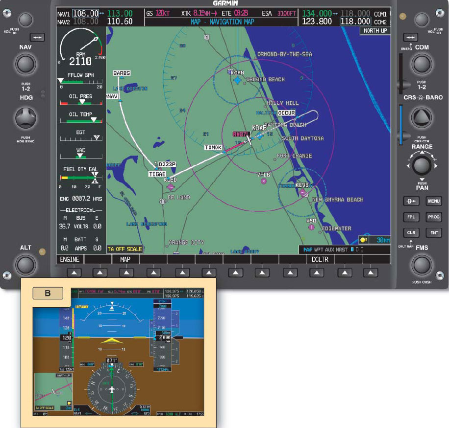 Figure 7-21. Aircraft is illustrated inbound on the localizer course.