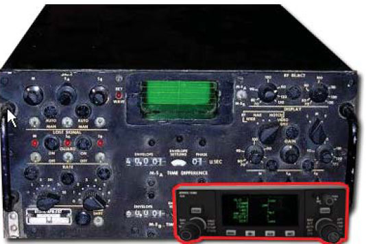 Figure 7-26. A control panel from a military aircraft after LORAN was first put into use. The receiver is remotely mounted and weighs over 25 pounds. Its size is about six times that of the LORAN fully integrated receiver.