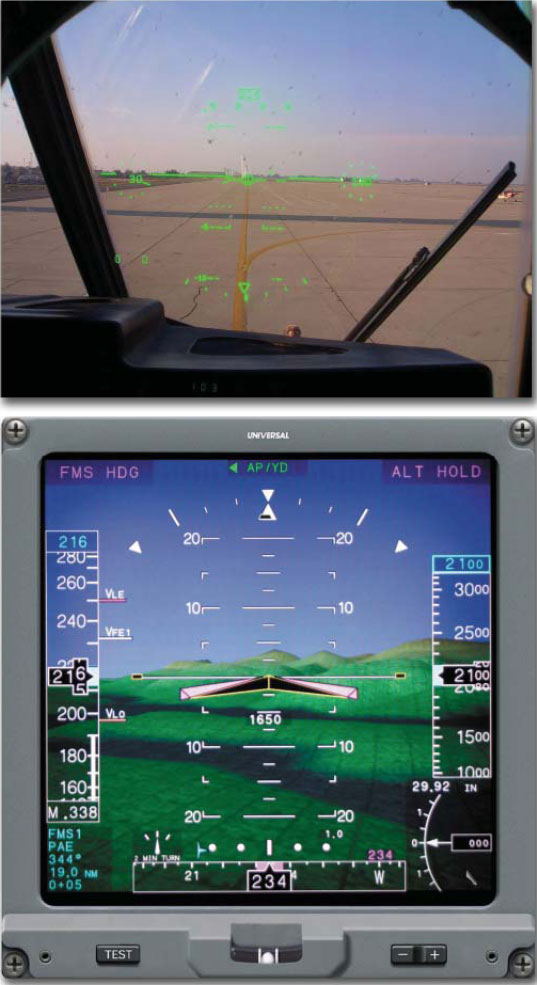 Figure 7-44. Example of a Head-Up Display (top) and a Head-Down Display (bottom). The head-up display presents information in front of the pilot along his/her normal field of view while a head-down display may present information beyond the normal head-up field of view.