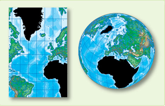 Figure 1-23. Mercator is conformal but not equal area.