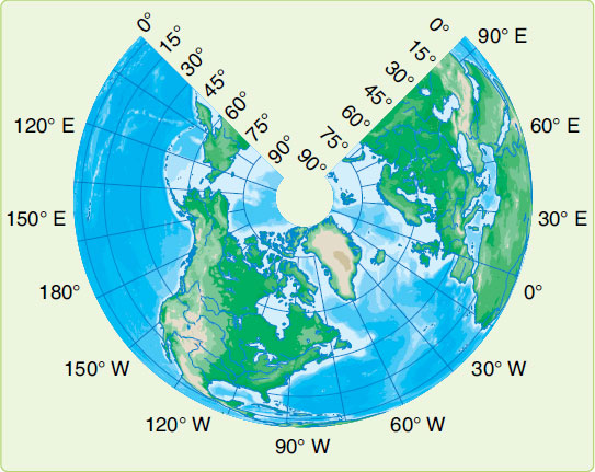 Figure 1-27. Simple conic projection of northern hemisphere.