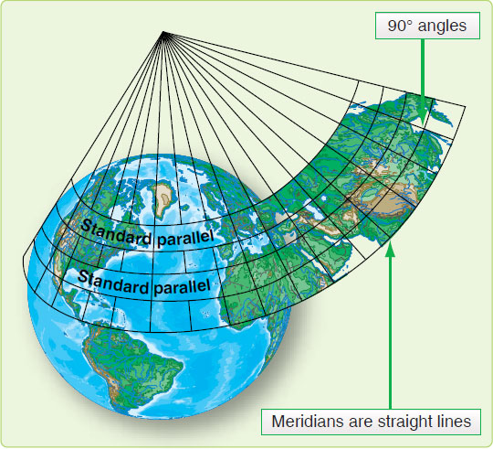 Figure 1-29. Lambert conformal conic projection.