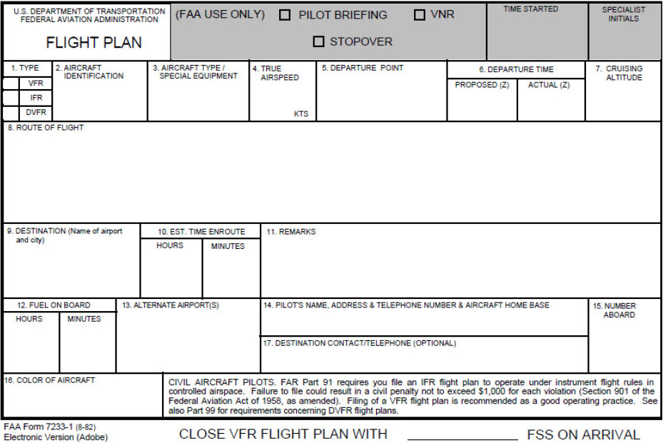 Figure 2-2. FAA Flight Plan Form 7233-1 (8-82).