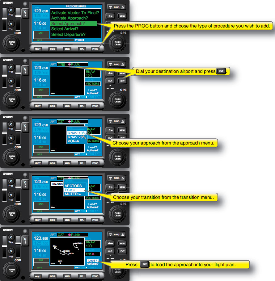 Figure 3-12. Inserting published instrument procedures into a flight route.