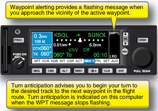 Figure 3-18. Waypoint alerting and turn anticipation.