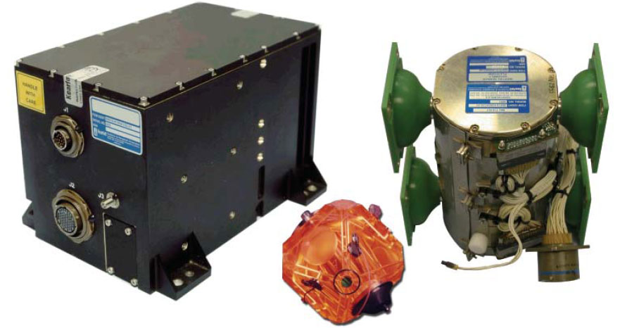 Figure 3-36. The Kearfott Attitude Heading Reference System (AHRS) on the left incorporates a Monolithic Ring Laser Gyro (MRLG) (center), which is housed in an Inertial Sensor Assembly (ISA) on the right.