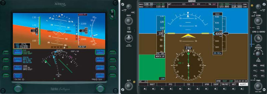 Figure 3-45. Two Primary Flight Displays (Avidyne on the Left and Garmin on the Right).