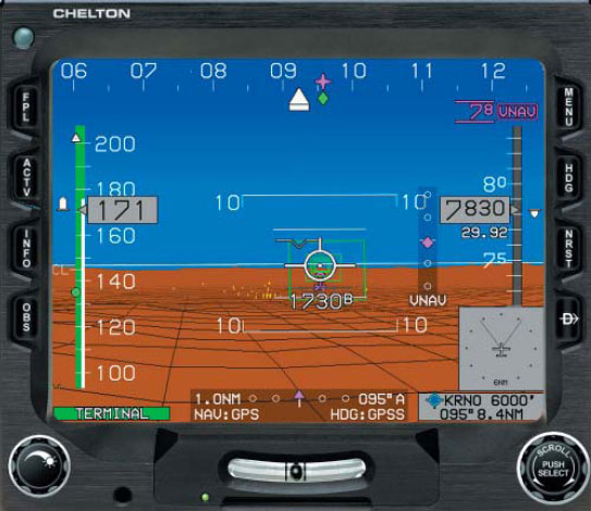Figure 3-46. The benefits of realistic visualization imagery, as illustrated by Synthetic Vision manufactured by Chelton Flight Systems. The system provides the pilot a realistic, real-time, three-dimensional depiction of the aircraft and its relation to terrain around it.