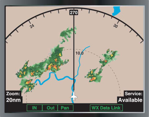 Figure 3-50. An aircraft equipped with ADS has the ability to upload and display weather.